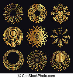 Design and caligraphic elements, gold ornaments for page...