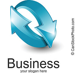 Logo for business 3d blue arrows.