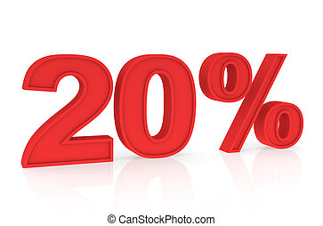 Discount 20% - Percent Numbers stating a Discount in red...