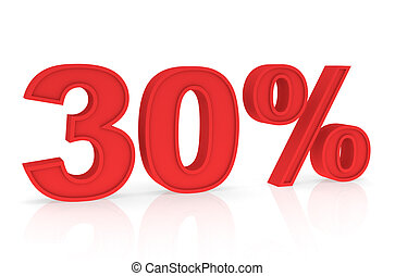 Discount 30% - Percent Numbers stating a Discount in red...