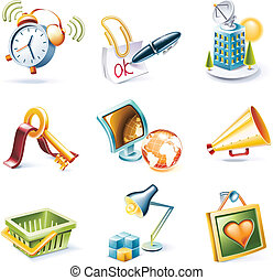 Vector cartoon style icon set. P. 9 - Set of highly detailed...