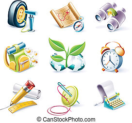 Vector cartoon style icon set P10 - Set of highly detailed...
