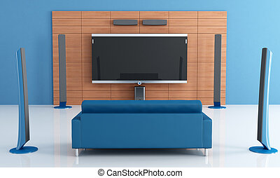 blue home theater - Contemporay blue home theater with couch...
