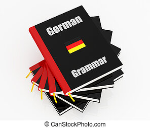 german grammar - stack of german grammar isolated on white -...