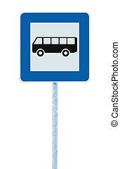 青, バス, 棒, 止まれ, 隔離された,  roadsign, 印, 交通,  signage, ポスト, 道