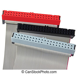 IDE connectors and ribbon cables for hard drive on PC Mac computer, isolated, red, grey, black, macro closeup