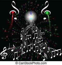 firework musical notes - Music notes for design use, vector...