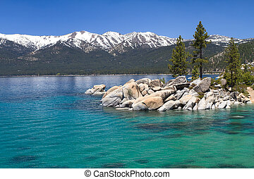 Lake Tahoe - Sand Harbor with view on Sierra Nevada, Lake...