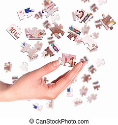 picture of puzzle for a banknote - pieces of euro banknote...
