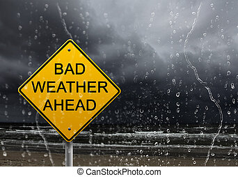 warning sign of bad weather ahead - yellow warning sign of...