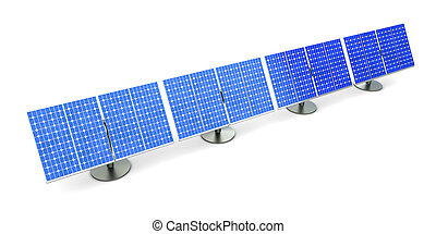 Solar Panel line - 3D rendered Illustration A line of solar...