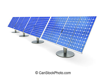 Solar Panel line - 3D rendered Illustration. A line of solar...