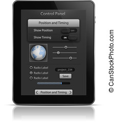 Tablet PC with UI elements. User interface template. EPS 10....