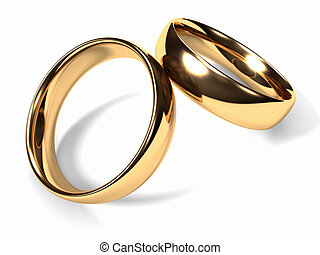 Wedding Rings - Two gold wedding rings together, white...