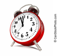 Red Clock - Red alarm clock isolated on white background, 3d...