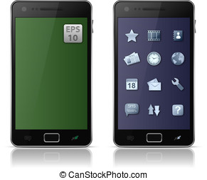 Mobile phone with icons Vector illustration of smart phone