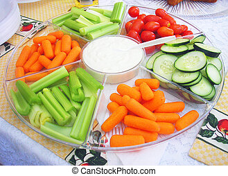 Fresh Vegetables - Fresh vegetables on dinner table ready to...