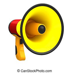 Megaphone in bright colors isolated on white background