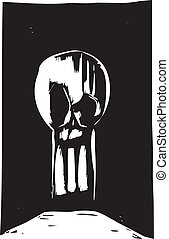 Keyhole Skull - Woodcut style skull in the shape of a...