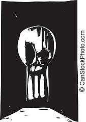 buraco fechadura, cranio