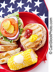 Healthy Holiday Picnic Vertical - Healthy turkey burger on...