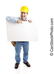 Worker Carries Blank Sign - Happy construction worker...