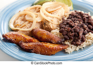 Fried Sweet Plaintains - Cuban Food - Closeup of Cuban...