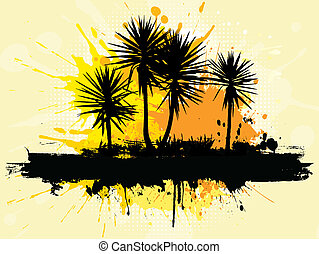 grunge palm trees - Silhouette of palm trees on a grunge...