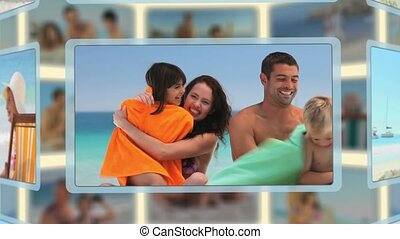 Montage of families and couples enjoying moments together on a beach