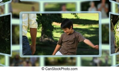 Montage of cute families enjoying moments together in a park