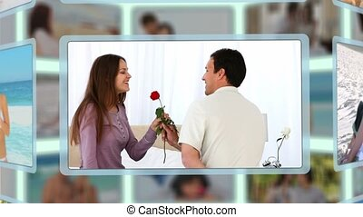 Montage of men offering a rose to their girlfriends