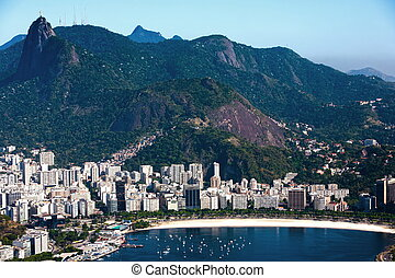 botafogo - aerial view of botafogo from the sugar loaf in...