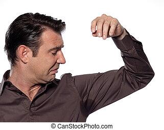 Man Portrait sweat perspiring - man sweating sniffle stain...