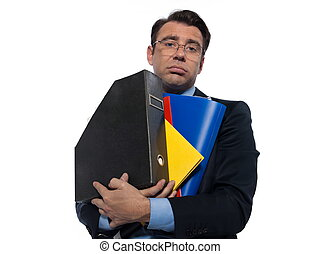 Man Portrait holding files - man businessman holding folders...