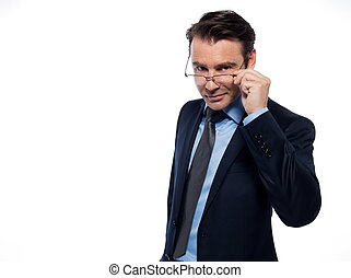 Man Portrait intellectual holding glasses - man businessman...