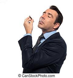 Man smoking drugs - man businessman smoking drugs isolated...