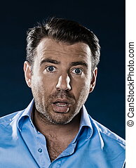 Man Portrait Shock - caucasian man unshaven shocked portrait...