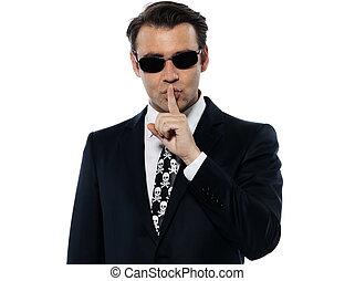 homem,  criminal, silêncio,  hushing