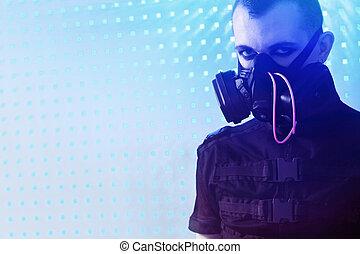 terror - Shot of a conceptual man in a respirator.