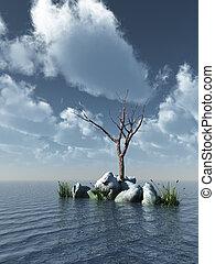 dead tree at the ocean - 3d illustration