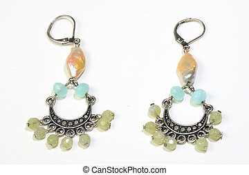 Earings - Womens earings with gems and shell