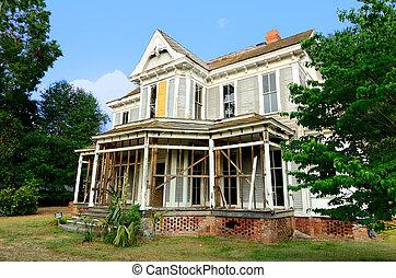 mansão, antigas, abandonado