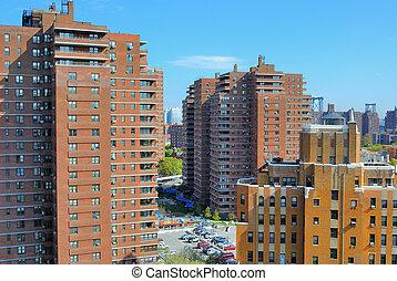 Cityscape, alacsonyabb, kelet, lejtő