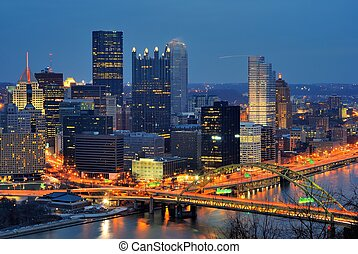 PIttsburgh, Pennsylvania Downtown Skyline - The skyline of...