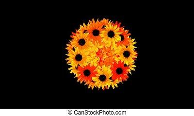 sunflower wreath as wedding background,disco neon flower...