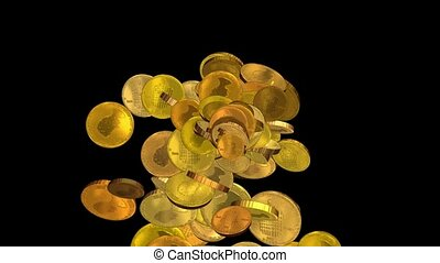 golden coins falling down