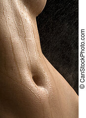 Anonymous wet studio nude - Anonymous nude with water spray...