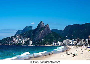 leblon and ipanema beach - view of leblon ipanema beach in...