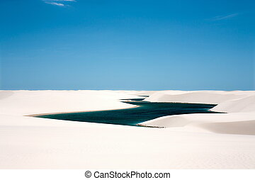 Lencois Maranheses national park - view of lagoa azul in...