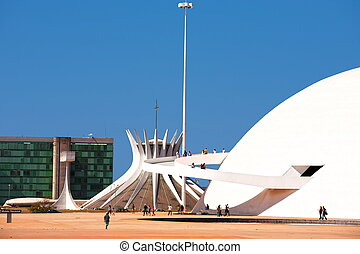 parati - The National Museum and the cathedral of Brasilia...